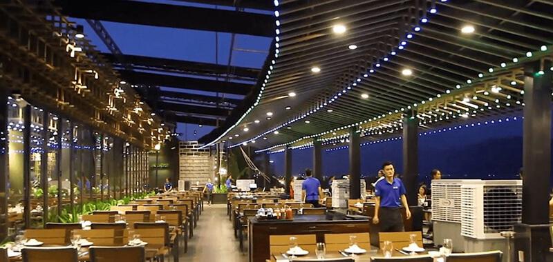 mái che sân vườn cho nhà hàng